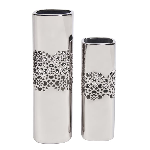 Nickel Lattice Tall Square Ceramic Vases Set of 2