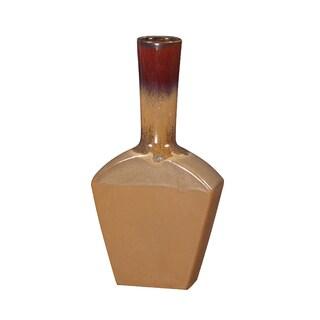 Glossy Mocha Merlot Ceramic Vase