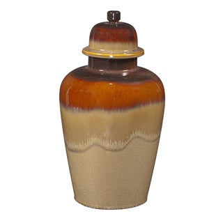 Large Glossy Mocha/ Merlot Ceramic Jar with Lid