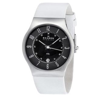 Skagen Men's 233XXLSLW White Leather Military Time Watch