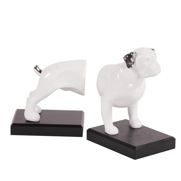 Ceramic Dog on Black Base Bookends