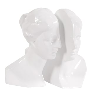 Male and Female Glossy White Bookends