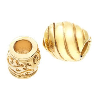 Sterling Essentials 14k Gold-plated Silver Bali Bead with Bonus Bead
