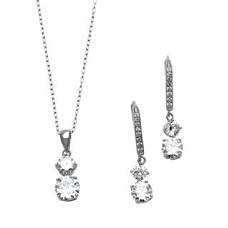 Sterling Essentials Silver Two-Stone Cubic Zirconia Drop Earring and Necklace Set