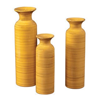 Canary Yellow w/ Striped Accents Glazed Ceramic Vases (Set of 3)