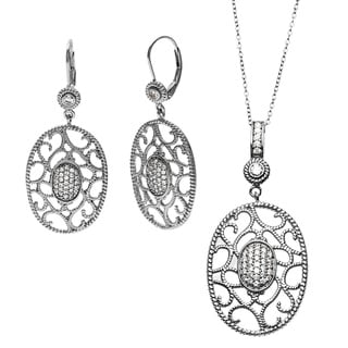Sterling Essentials White Gold Plated Silver Oval Florentine Drop Earring and Necklace Set