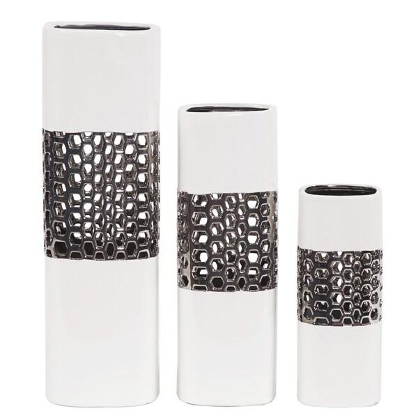 White Bright Nickel Textured Lattice Middle Square Ceramic Vase Set