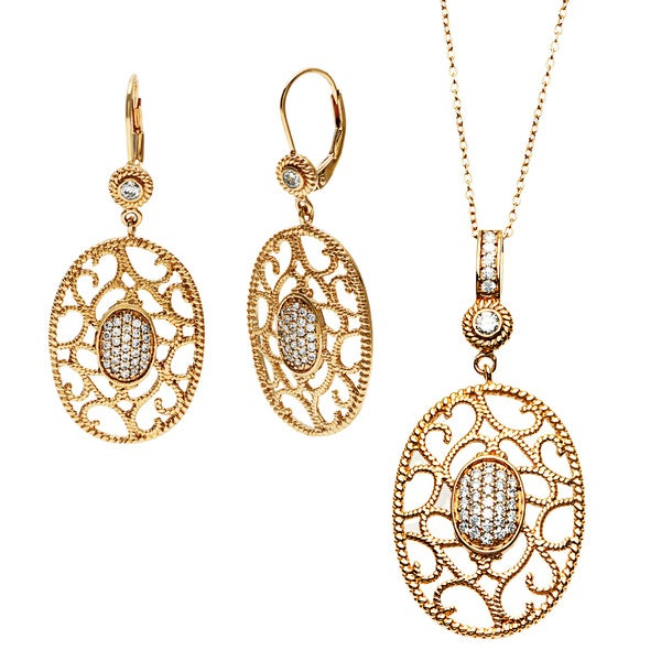 Sterling Essentials 14K Gold Plated Silver Oval Florentine Drop Earring and Necklace Set (16+1 ext.)