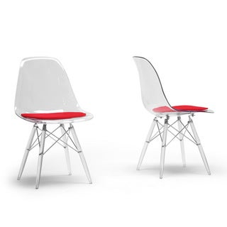 Maisie Clear Plastic Mid-Century Modern Shell Chair (Set of 2)