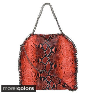 Yoki Snake Embossed Chain Whipstitched Shoulder Bag