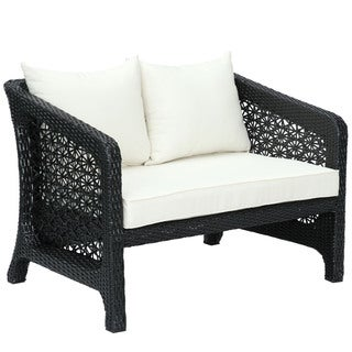 Nook Rattan Espresso White Patio Loveseat