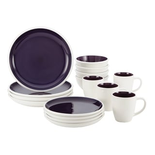 Rachael Ray Rise Purple Stoneware 16-Piece Dinnerware Set