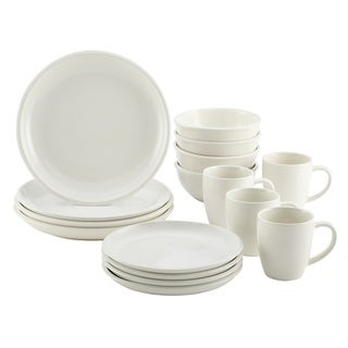 Rachael Ray 'Rise' White Stoneware 16-Piece Dinnerware Set