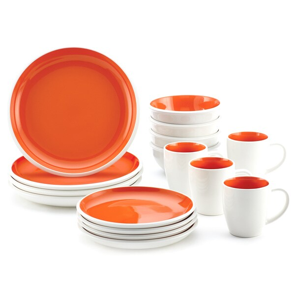 Rachael Ray Rise Stoneware 16-piece Orange Dinnerware Set 12067223