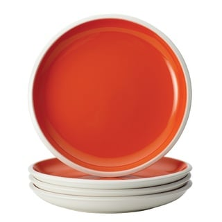 Rachael Ray Dinnerware Rise Orange 4-Piece Stoneware Salad Plate Set