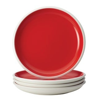 Rachael Ray Dinnerware Rise 4-Piece Stoneware Salad Plate Set, Red