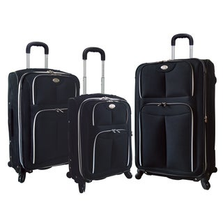 Traveler's Club 3-Piece Expandable Black Spinner Luggage Set