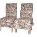 Zebra Print Microsuede Dining Chair Covers (Set of 2)