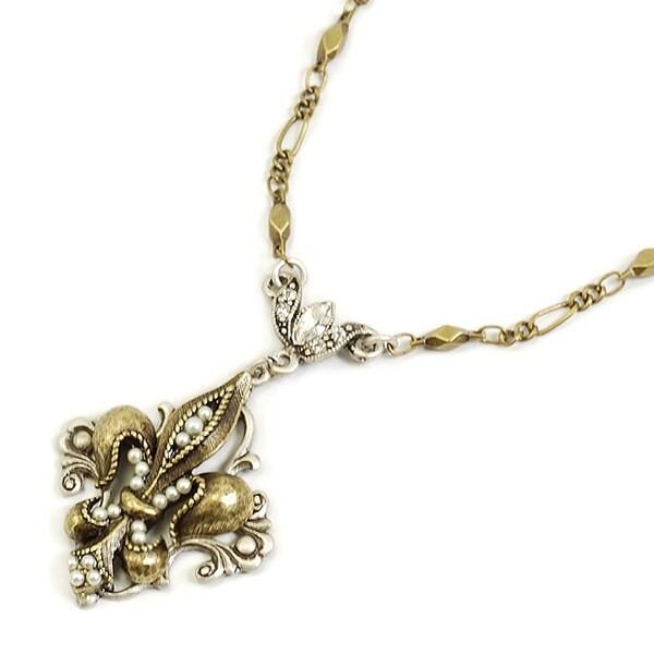 Sweet Romance French Ritz Fleur de Lis Necklace