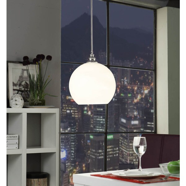 Uptown White Globe 1-light Chrome Pendant