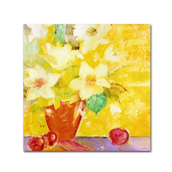 Sheila Golden 'Red Vase With Apples' Canvas Art