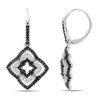 Miadora Sterling Silver 1ct TDW Black and White Diamond Flower Earrings (H-I, I2-I3)