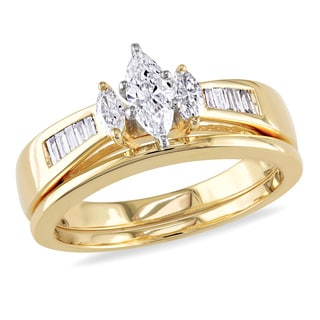 Miadora 14k Yellow Gold 1/2ct TDW Diamond Bridal Ring Set (H-I, I1-I2)
