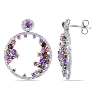 Miadora 14k White Gold Multi-gemstone and 2/5ct TDW Diamond Earrings (G-H, I1-I2)