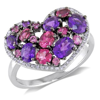 Miadora 14k White Gold Multi-gemstone and Diamond Heart Ring (G-H, I1-I2) with Bonus Earrings