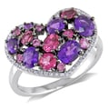 Miadora 14k White Gold Multi-gemstone and Diamond Heart Ring (G-H, I1-I2)
