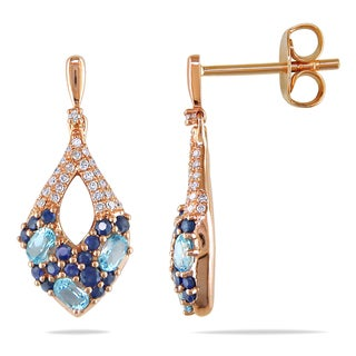 Miadora 14k Rose Gold Sapphire, Blue Topaz and 1/6ct TDW Diamond Earrings (G-H, I1-I2)
