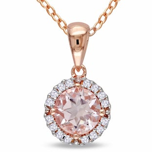 Miadora Roseplated Silver Morganite and 1/10ct TDW Diamond Halo Necklace (I-J, I2-I3)