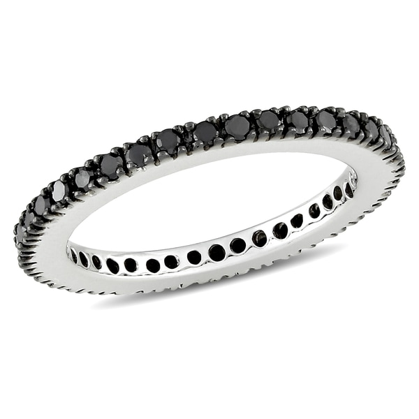 Miadora 18k White Gold 3/8ct TDW Black Diamond Eternity Ring