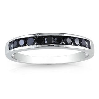 Miadora 10k White Gold 1/2ct TDW Black Diamond Semi-Eternity Ring