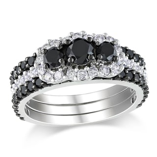 Miadora 14k Gold 2ct TDW Black and White Diamond Bridal Set (H-I, I2-I3)