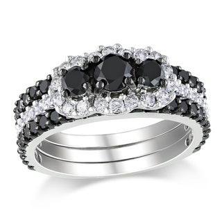 Miadora Signature Collection 14k Gold 2ct TDW Black and White Diamond Bridal Set (H-I, I2-I3)