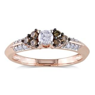 Miadora 14k Rose Gold 1/2ct TDW Brown and White Diamond Ring