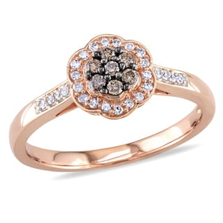 Miadora 10k Rose Gold 1/4ct TDW Brown and White Diamond Flower Ring (H-I, I2-I3)