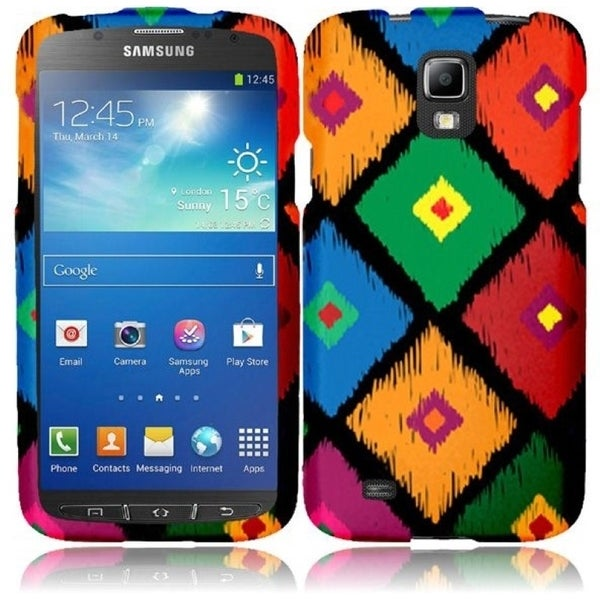INSTEN Colorful Frame Tribal Rubberized Matte Hard Plastic Snap-on Phone Case Cover for Samsung Galaxy S4 Active