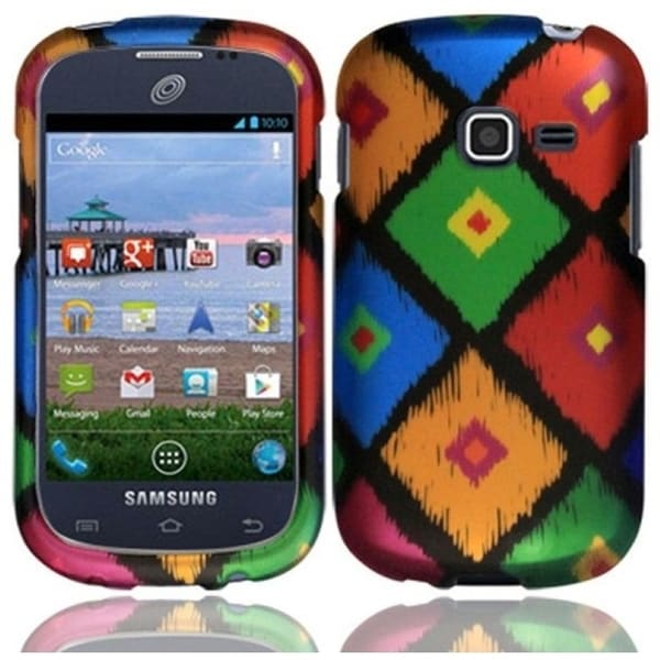 INSTEN Frame Tribal Rubberized Hard Plastic Snap-on Phone Case Cover for Samsung Galaxy Centura/ Discover