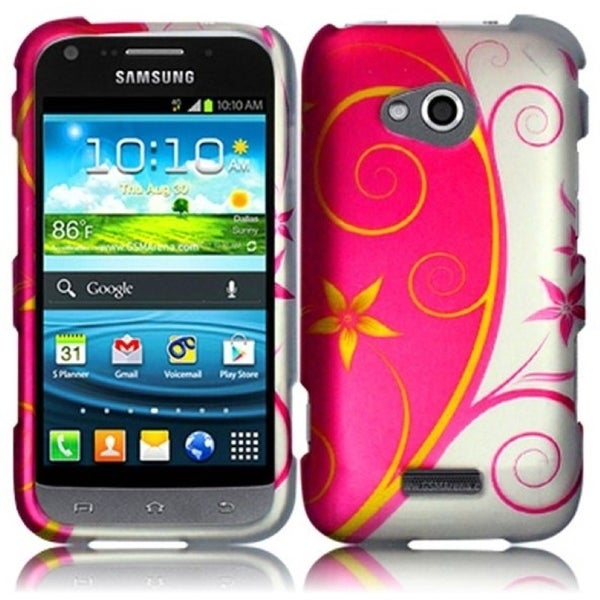 INSTEN Pink/ White Beauty Swirl Rubberized Hard Plastic Snap-on Phone Case Cover for Samsung Galaxy Victory