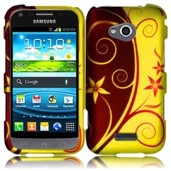 INSTEN Red/ Yellow Elegant Swirl Rubberized Hard Plastic Snap-on Phone Case Cover for Samsung Galaxy Victory 4G LTE