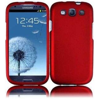 INSTEN Red Rubberized Matte Hard Plastic PC Snap-on Phone Case Cover for Samsung Galaxy S3/ S III