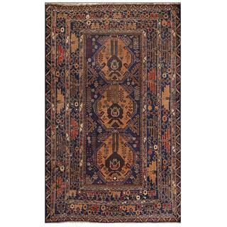 Herat Oriental Afghan Hand-knotted Tribal Balouchi Navy/ Gold Wool Rug (3'11 x 6'6)