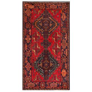 Afghan Hand-knotted Tribal Balouchi Red/ Navy Wool Rug (3'5 x 6'7)