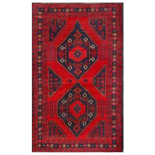 Afghan Hand-knotted Tribal Balouchi Red/ Navy Wool Rug (3'8 x 6'3)