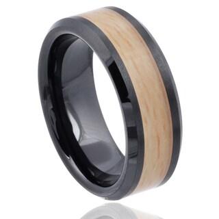 Vance Co. Men's Ceramic Woodgrain Inlay Band (8 mm)