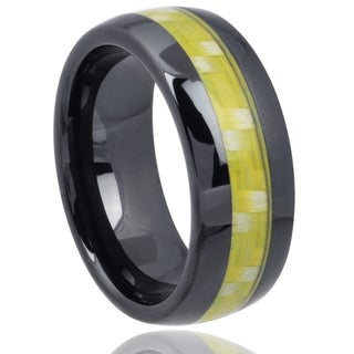 Vance Co. Men's Ceramic Carbon Fiber Inlay Band (8 mm)