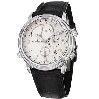 Blancpain Men's 'Leman Gmt Alarm' White Gold Leather Strap Watch