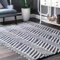 nuLOOM Handmade Chevron Denim Wool Rug (6' x 9')